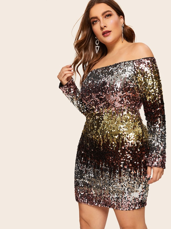 Plus Size Zip Back Off Shoulder Sequin Bodycon Dress