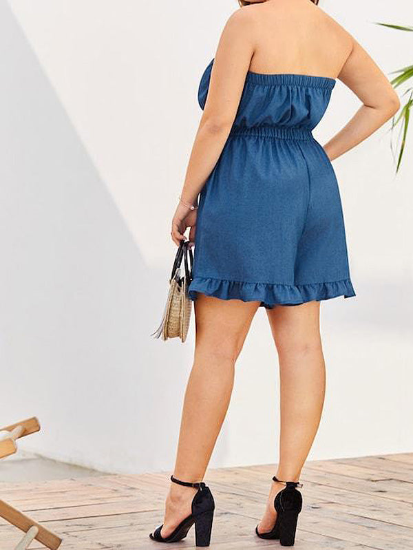 Plus Size Off Shoulder Ruffle Hem Denim Romper