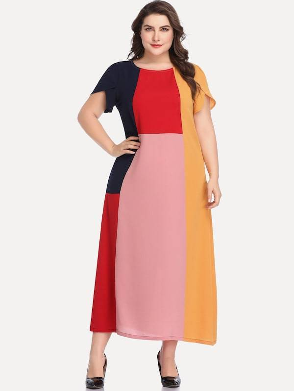 Plus Size Contrast Panel Maxi Dress