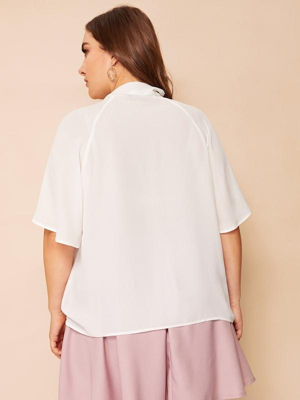 Plus Size Flutter Sleeve Tied Pleated Neck Top