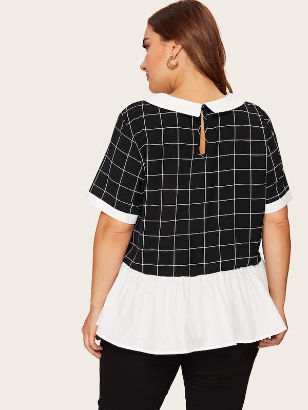 Plus Size Peter-Pan-Collar Colorblock Grid Top