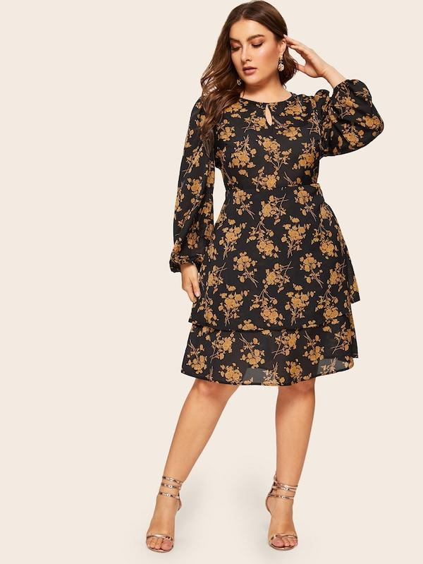 Plus Size Botanical Print Layered Dress