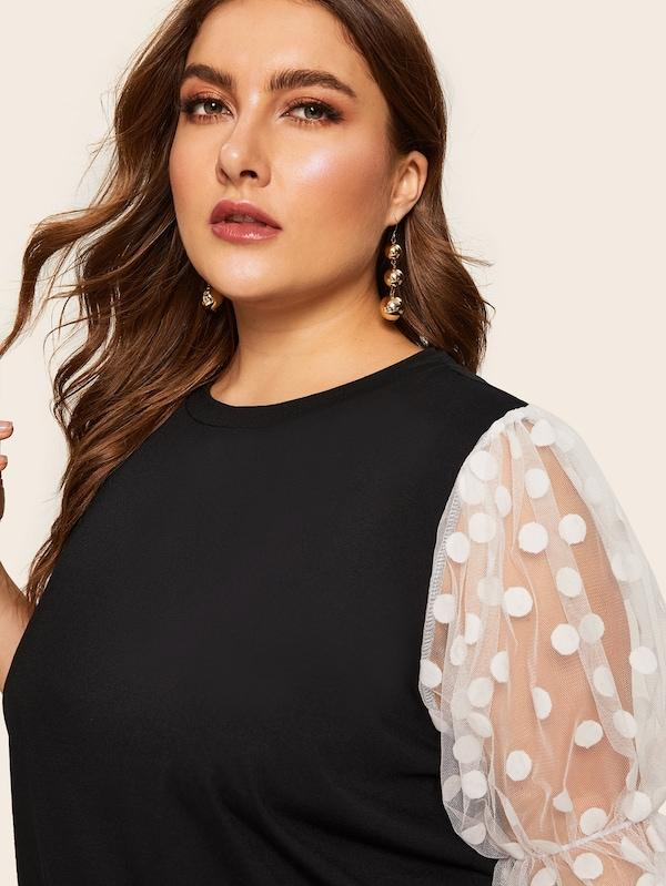 Plus Size Contrast Polka Dot Mesh Sleeve Top