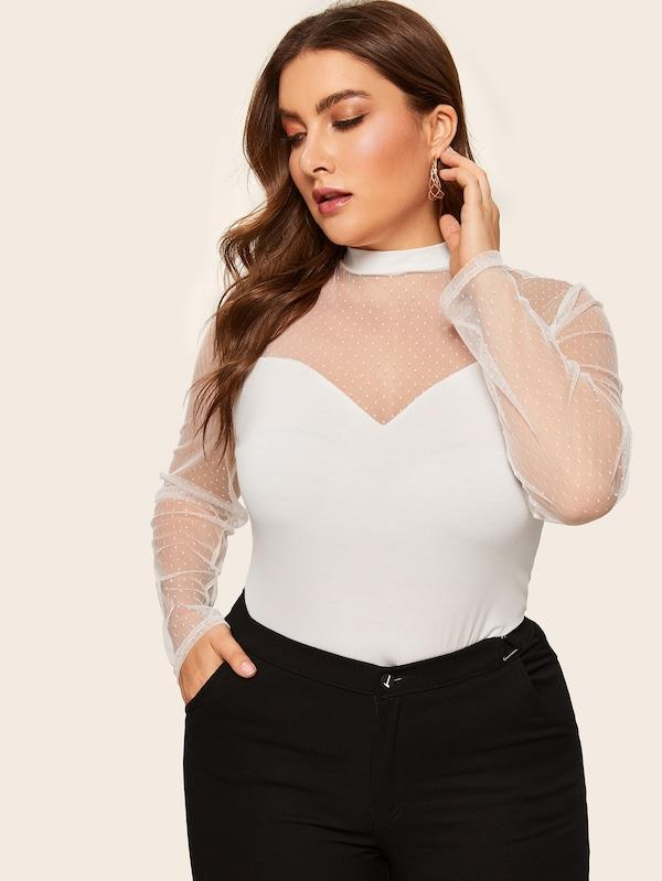 Plus Size Dot Mesh Sweetheart Fitted Tee
