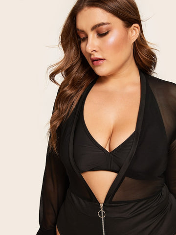 Plus Size Zip Front Mesh Teddy Bodysuit Without Bra