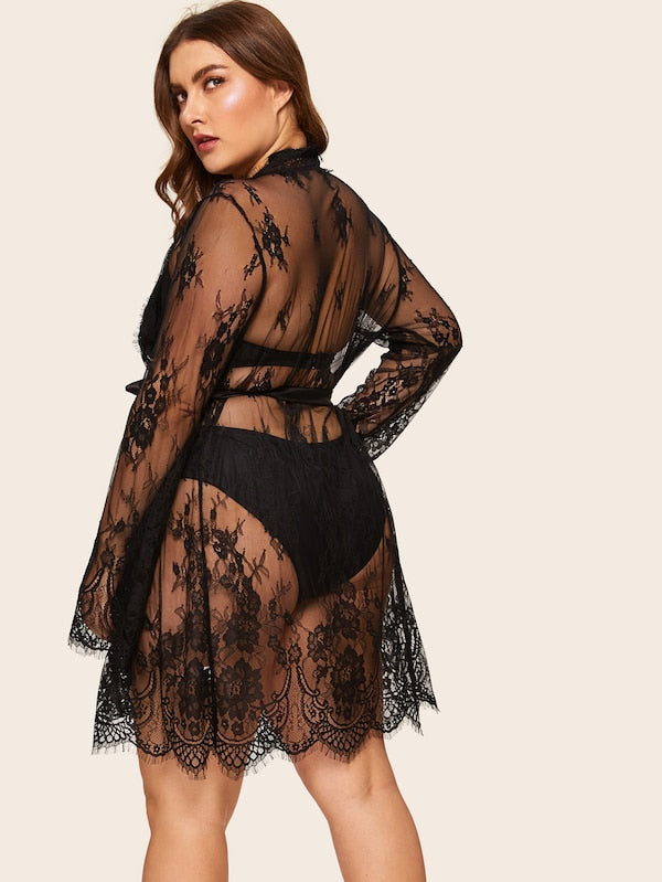 Plus Size Floral Lace Sheer Robe With Thong