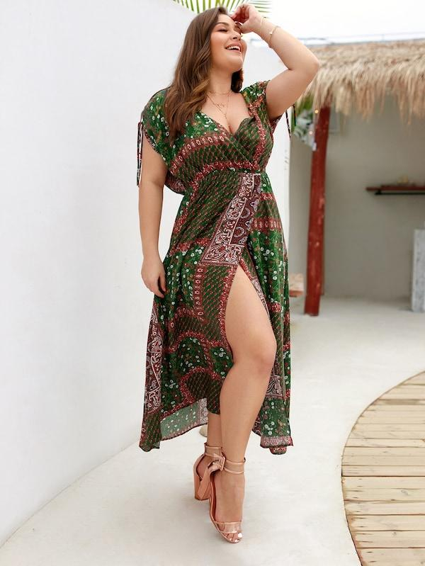 Plus Size Tribal Print Knot Cuff Surplice Front Dress