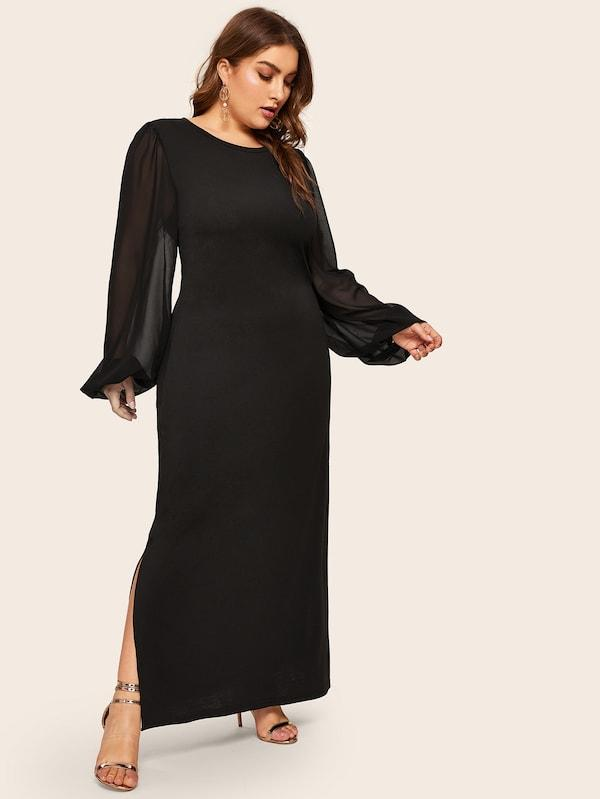 Plus Size Contrast Mesh Split Side Maxi Dress