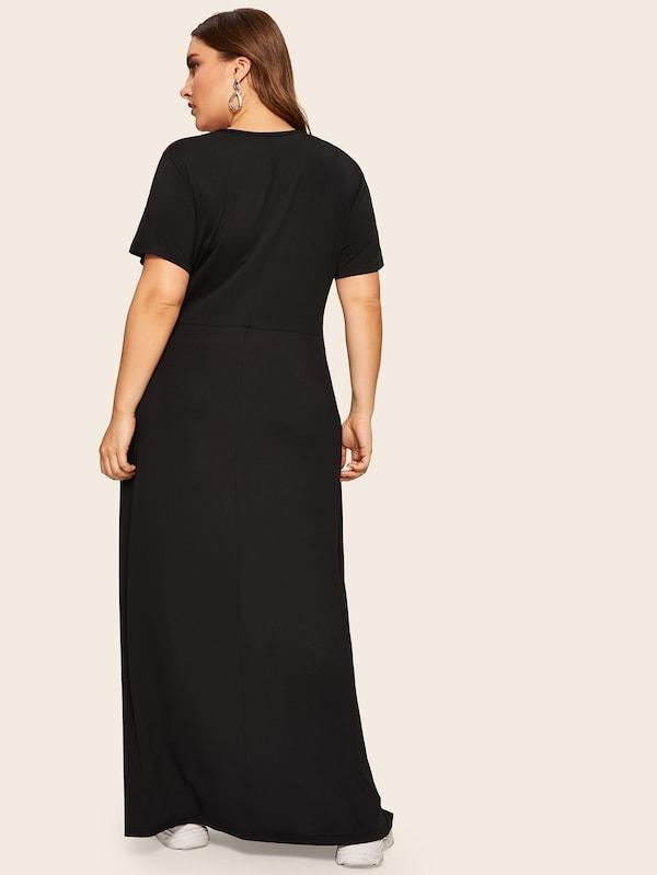 Plus Size Two Tone Maxi Dress