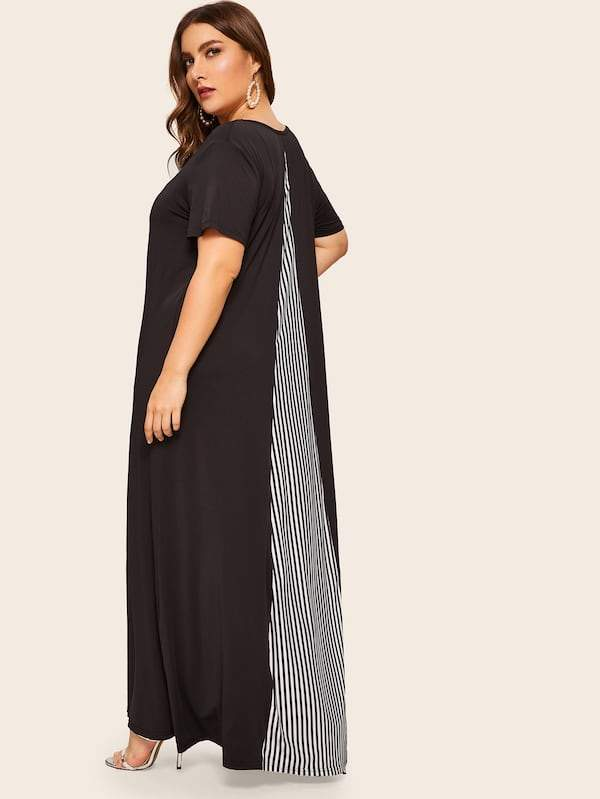Plus Size Contrast Striped Panel Maxi Dress