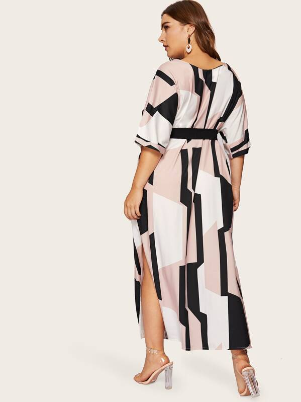 Plus Size Geo Print Split Side Belted Dress