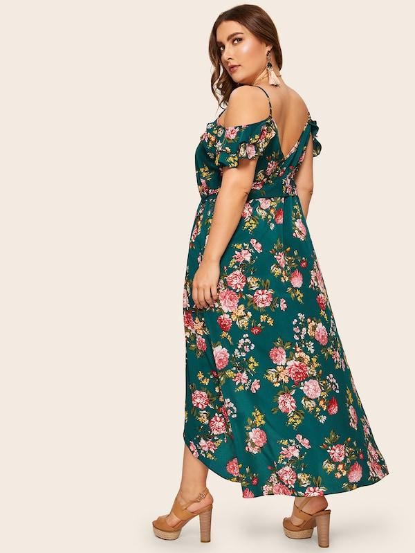Plus Size Tulip Hem Ruffle Trim Floral Print Dress