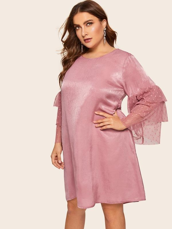 Plus Size Contrast Mesh Sleeve Dress