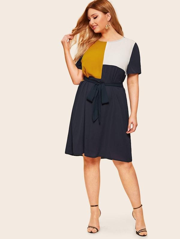 Plus Size Waist Belted Color Block Dress