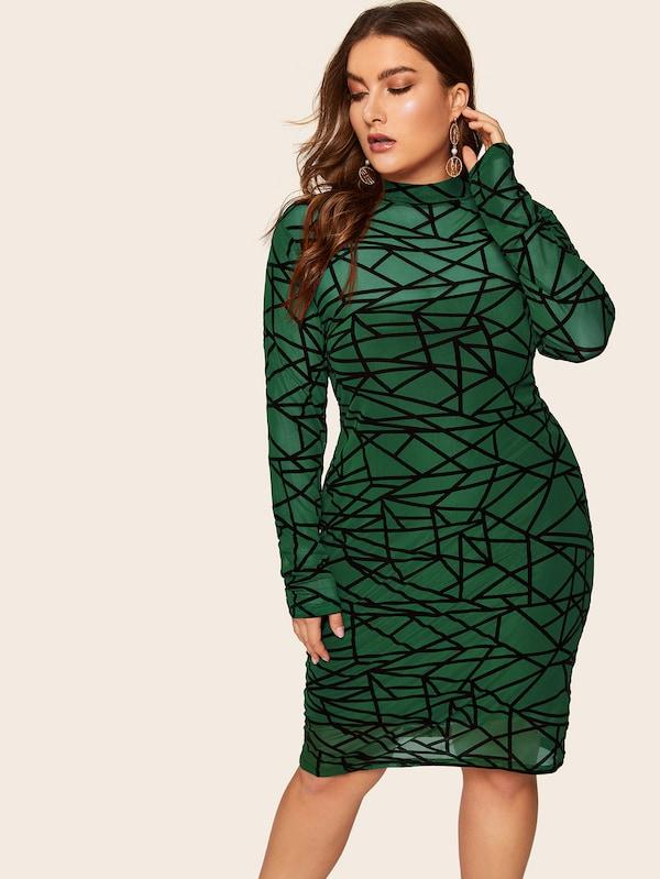 Plus Size Mock-Neck Geo Print Bodycon Dress