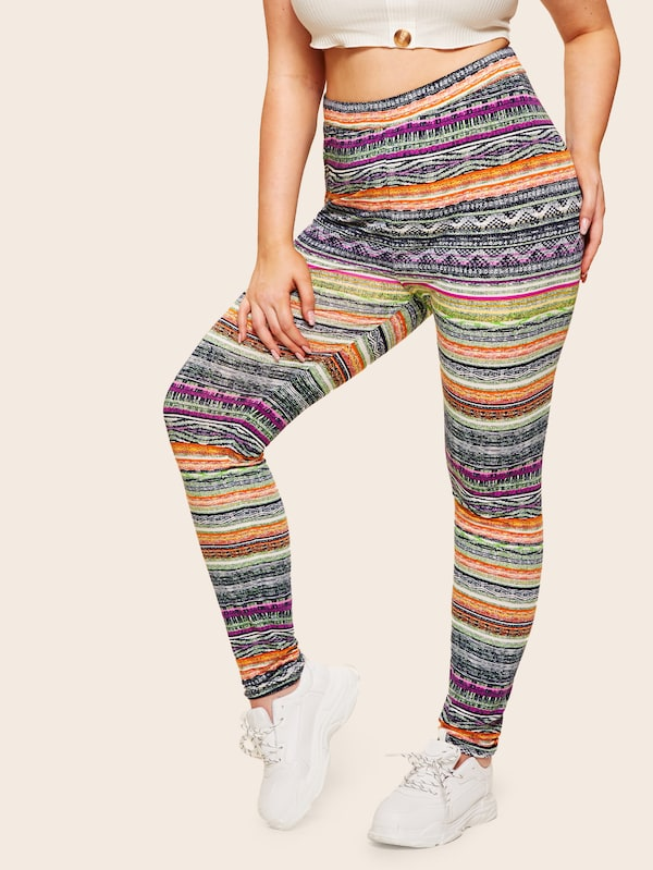 Plus Size Aztec Print High Waist Leggings