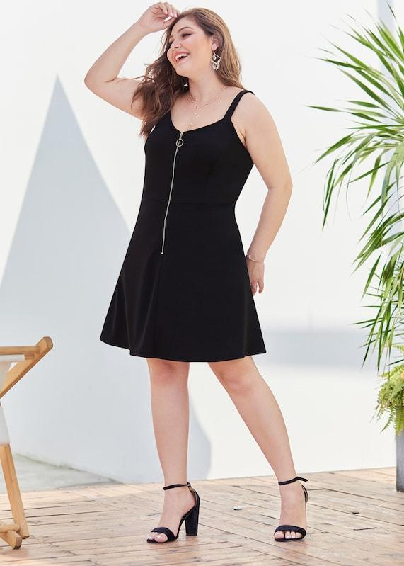 Plus Size Solid Zip Front Cami Dress