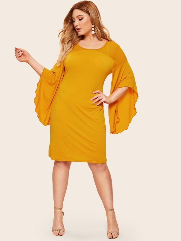 Plus Size Flounce Sleeve Contrast Panel Dress