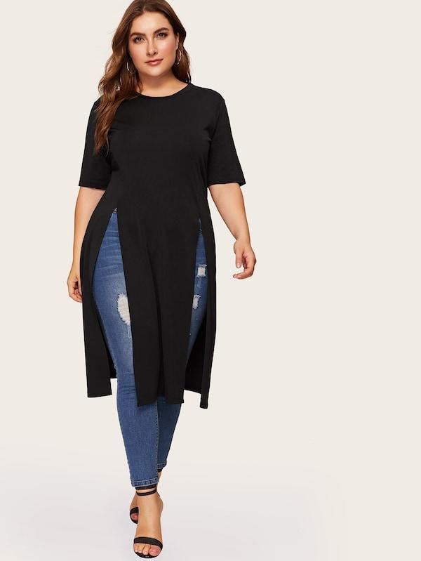 Plus Size Split Longline Top