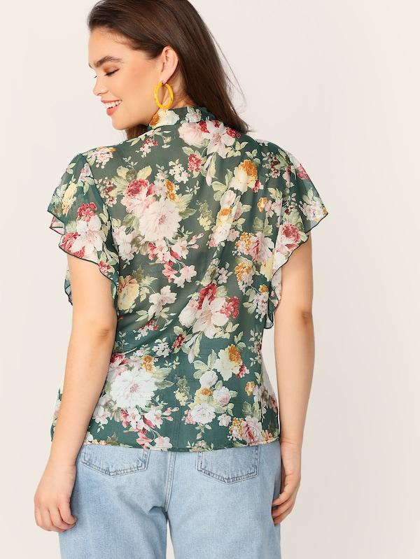 Plus Size Tie Neck Flutter Sleeve Floral Blouse