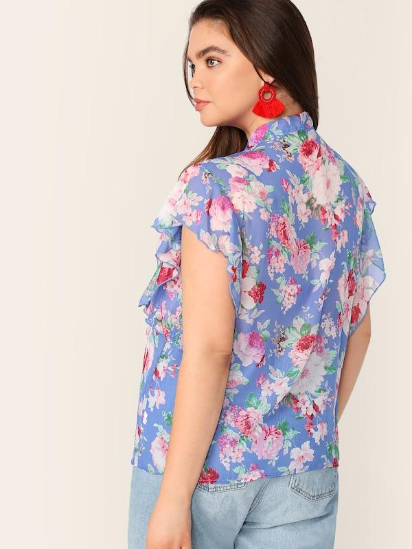 Plus Size Tie Neck Ruffle Armhole Floral Top
