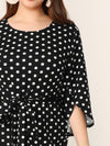 Plus Size Overlap Bell Sleeve Belted Polka Dot Dress