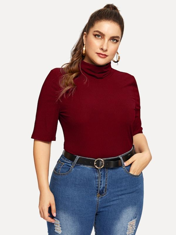 Plus Size High Neck Slim Fitted Rib-Knit Tee