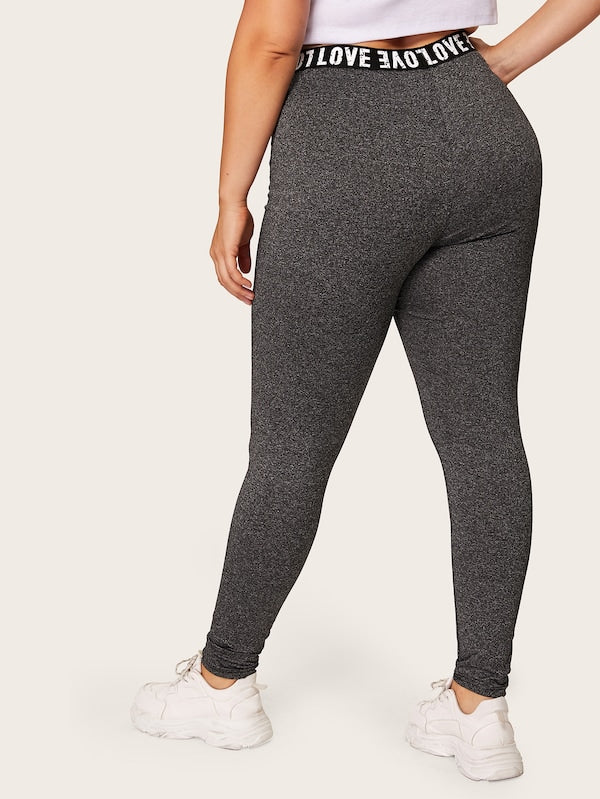 Plus Size Letter Taped Leggings