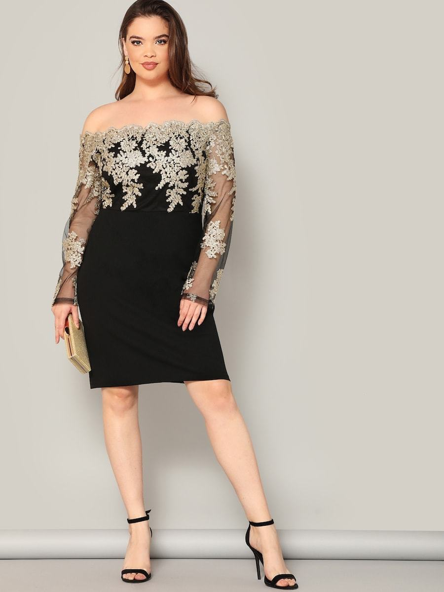 Plus Size Embroidered Mesh Bodice Pencil Dress