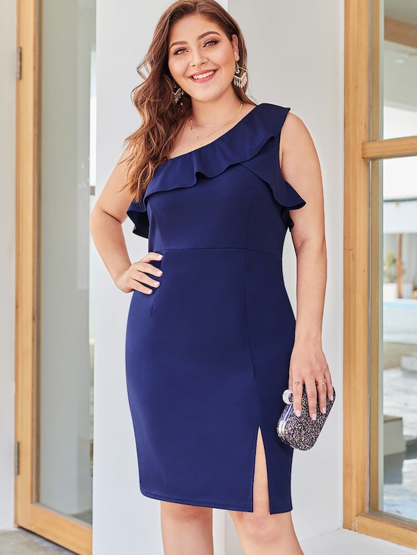 Plus Size One-Shoulder Ruffle Trim Solid Dress
