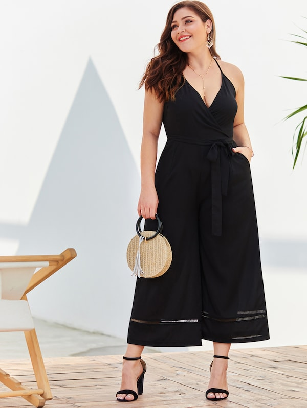 Plus Size Self Tie Solid Cami Jumpsuit