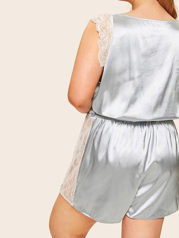Plus Size Deep V Lace Trim Satin Romper