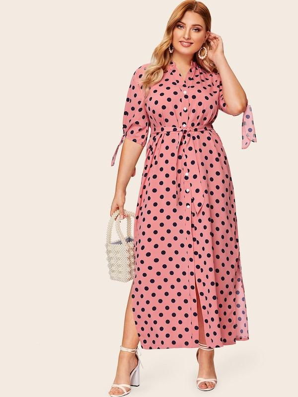 Plus Size Polka Dot Knot Cuff Shirt Dress
