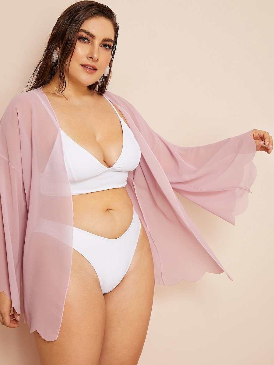 Plus Size Scalloped Trim Sheer Kimono