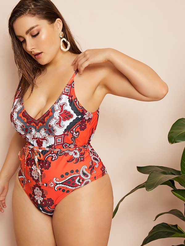 Plus Size Paisley Print Open Back One Piece Swimwear
