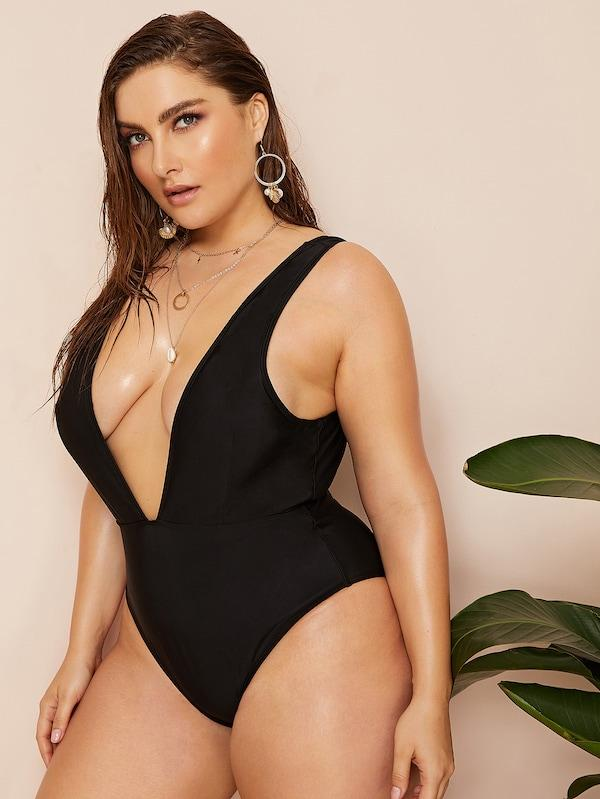 Plus Size Plunge Low Back One Piece Swimwear