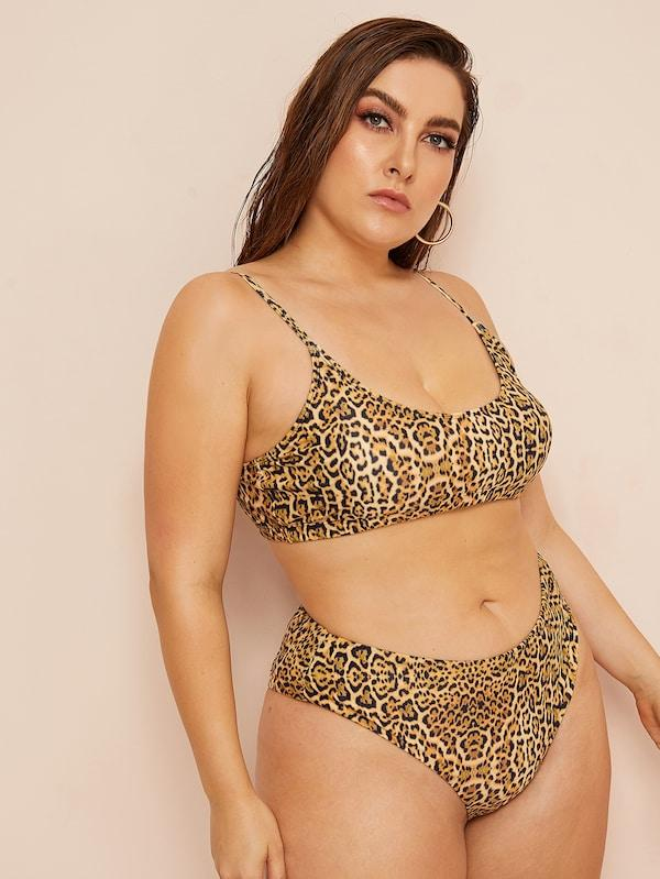 Plus Size Leopard Print Top With High Waist Bikini
