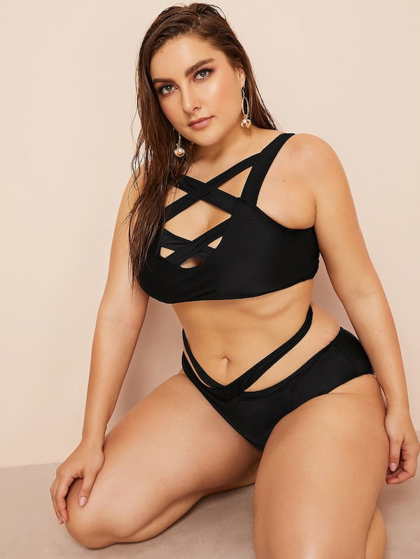 Plus Size Criss Cross Top With Cut-Out Bikini