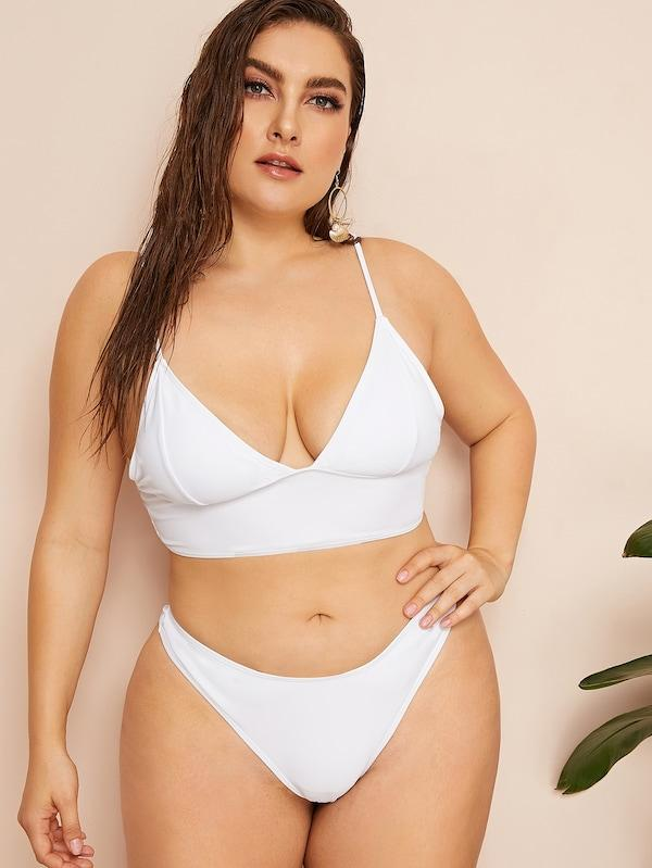 Plus Size Seam Top With High Cut Bikini Set