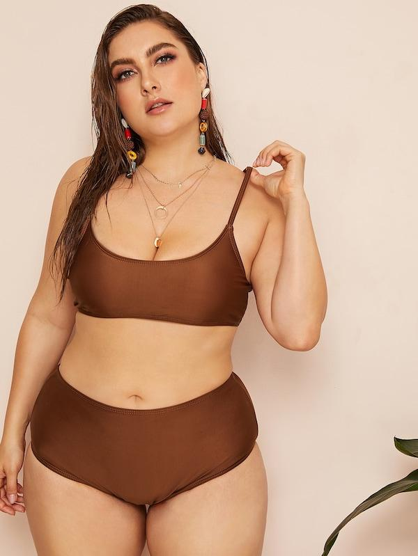 Plus Size Spaghetti Strap Top With High Waist Bikini