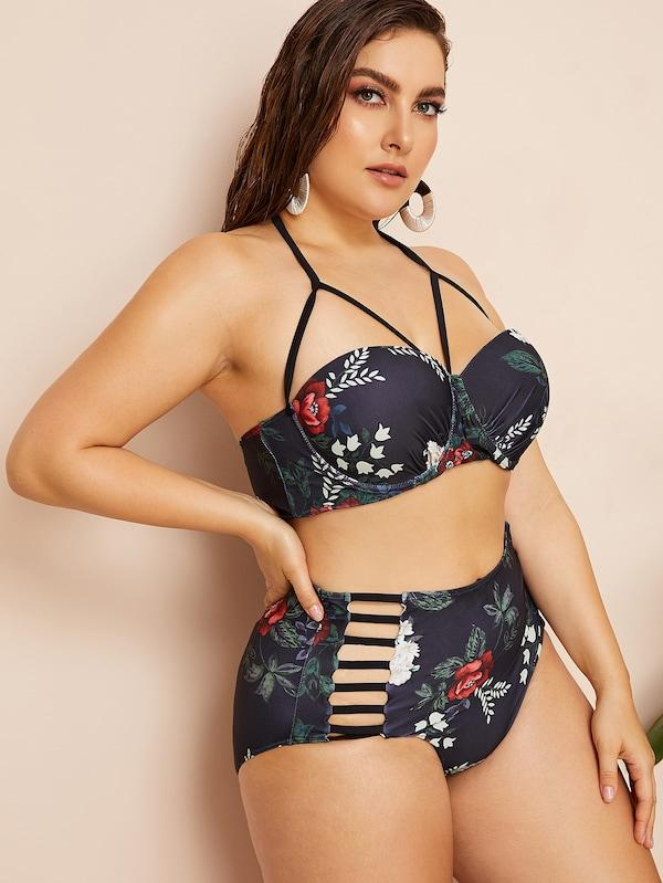 Plus Size Floral Harness Bustier Top With Ladder Cut-Out Bikini
