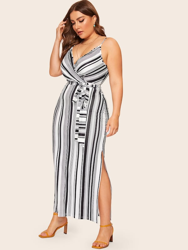 Plus Size Split Side Belted Striped Cami Dress