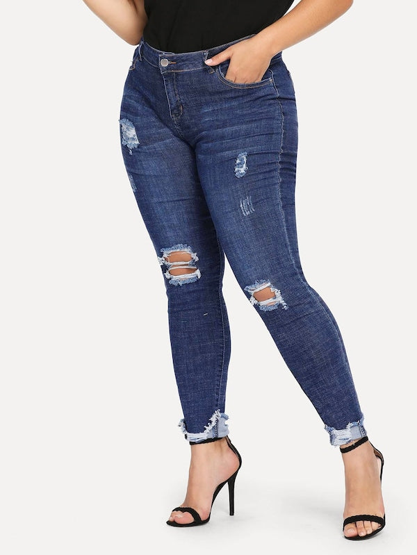 Plus Size Ripped Detail Jeans