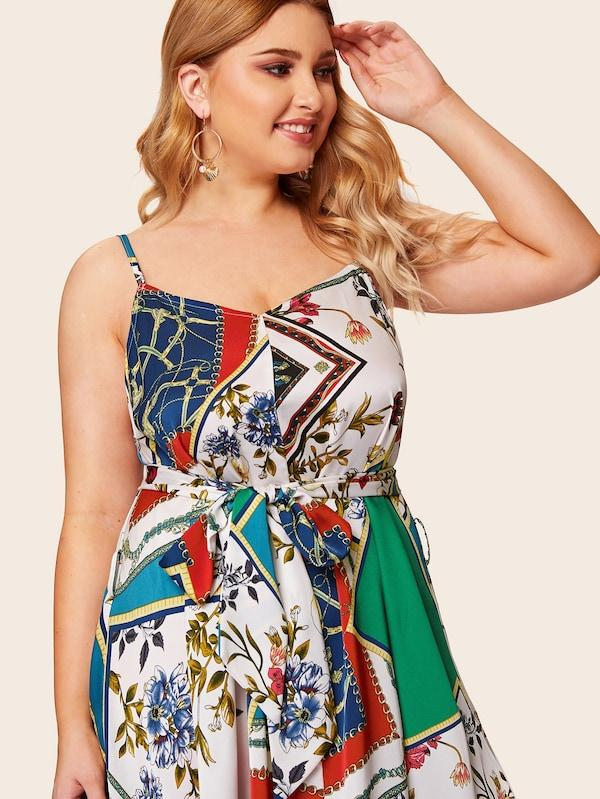 Plus Size Hanky Hem Scarf Print Cami Dress