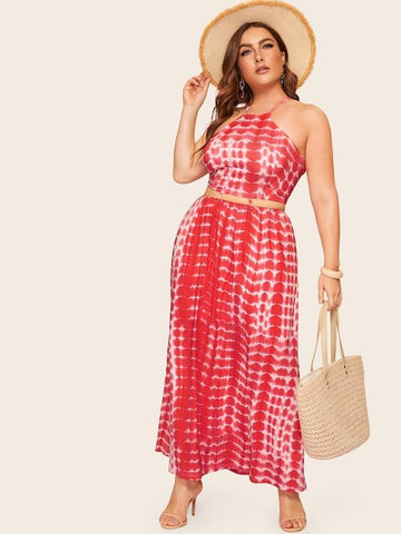 Plus Size Tie Dye Criss Cross Cami Dress