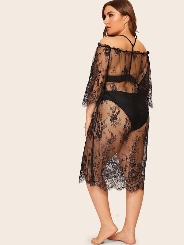 Plus Size Floral Lace Bardot Dress Without Lingerie Set