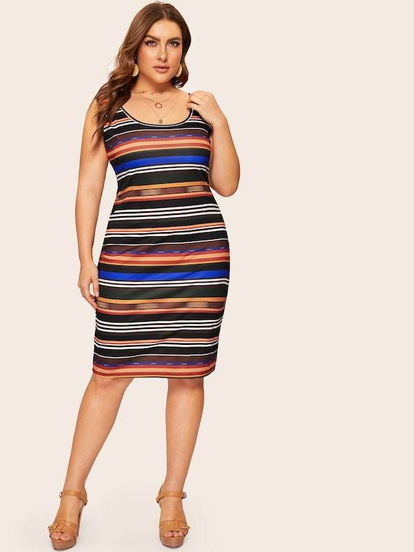 Plus Size Colorful Striped Tank Dress