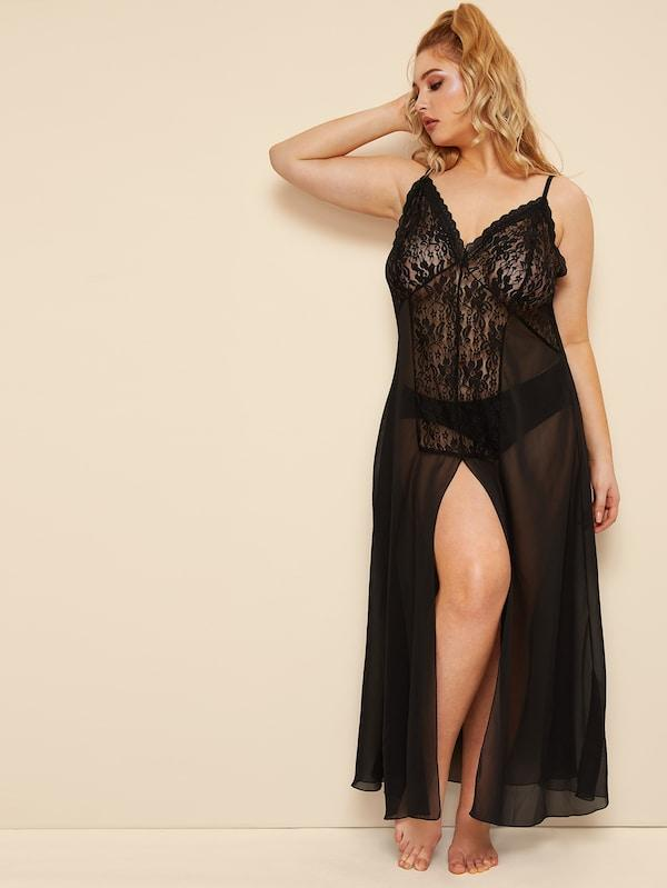 Plus Size Contrast Lace Split Dress