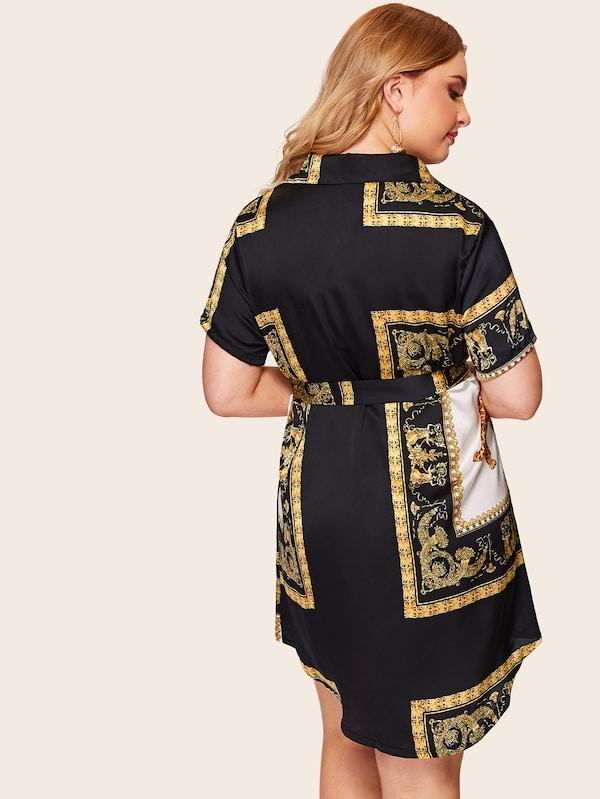 Plus Size Animal Scarf Print Shirt Dress