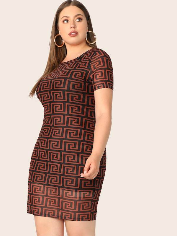 Plus Size Greek Fret Print Pencil Dress